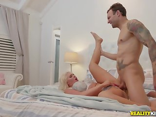 Curvy milf pair off ride his stiff cock and his eager face