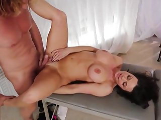 Stepmom gargantuan massage to step laddie and gets horny