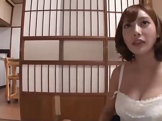 Japanese stunner with enormous boobs and many filthy ideas on her mind is hotwife on her co-conspirator