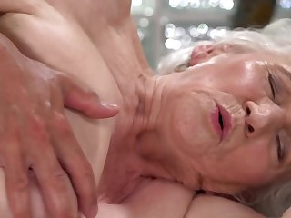 A nasty aged granny is fucked on the team up at the end of one's tether a dude really hard