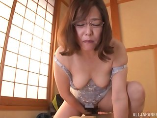 Japanese in lingerie rides cowgirl style and gets a creampie