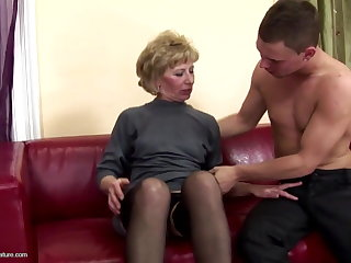 Hairy mature mama ass fucked and pissed on