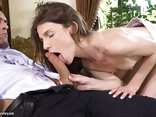 Delicate brunette pet Nelya gets her asshole pounded and cream brindled