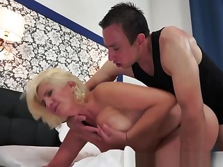 Hairy Grandma In Lingerie Gets Cum In Mouth