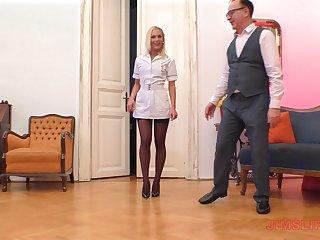 Mart nurse in nylons Cecilia Scott blows with the addition of rides an older guy