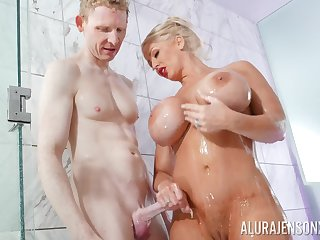 Blonde pornstar Alura Jenson with massive role of hooters fucked