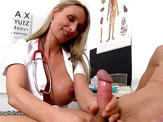 Steamy nurse is wearing fabulous uniform while toying with her patient's rock stiff meat utilize