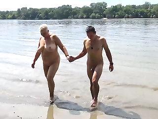 stepson fucks mom on public shore