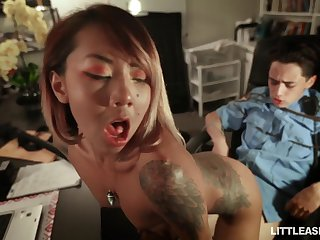 Petite Asian chick respecting small tits Kimberly Chi bangs tied up policeman