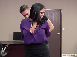 Sexy pornstar Diamond Kitty on her knees sucking her boss's locate