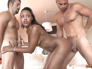 Black babe, Noe Milk is fucking two guys at the same time, like a botch