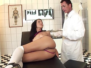 Skinny model Sasha rose enjoys getting fucked in ass by a doctor
