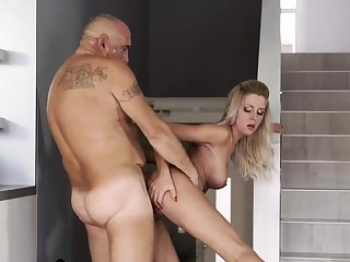 Hung daddy together with old skinny granny Finally at home, finally