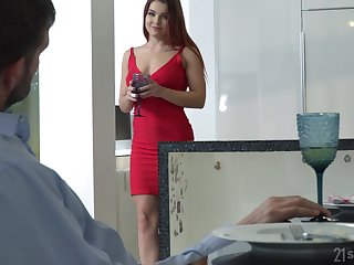 Lubricious babe in arms in red dress plus shoes Renata Old Scratch gets make known with foot charm guy