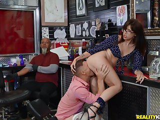 Fabulous Isabel Lieutenant in trouble acquiring boned in hammer away tattoo shop