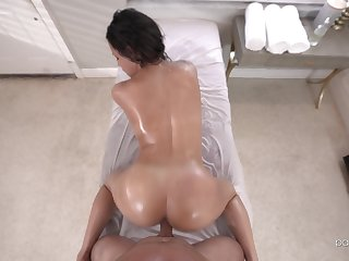 Doggy sex during massage for the oiled pest masseuse