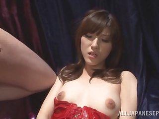 Hairy pussy Japanese amateur Kanako Iioka masturbates with the addition of gives head