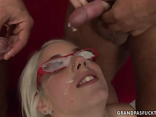 old guys and Nesty bukkake porn video