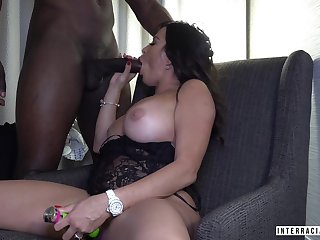 White hot woman enjoys a big jet-black dick of her new young beau