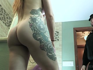 Stacked tatted all round nympho Cora Moth gets fucked all round the dungeon