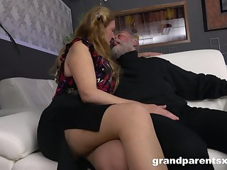 Senior couple has a millions of fun more the presence of two sexy strippers
