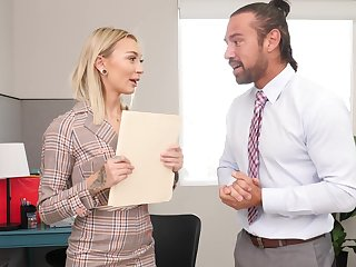 Passionate blonde gets laid with her boss for a emend raise