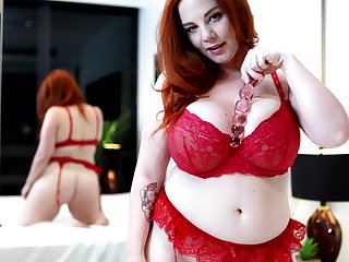 Broad in the beam full-grown Avalon takes off her lingerie to masturbate