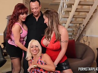 Three cougars be thrilled by duo man and suck his cock of a piece with yuppy for cum bitches