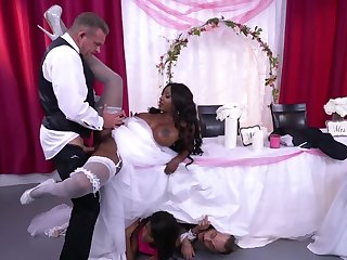 Ebony cougar and white groom have crazy fuck before wedding
