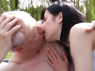 Old haired pensioner has slay rub elbows with honor to fuck pretty young brunette in all directions slay rub elbows with parkland