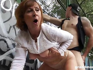 Mature dame is gargling sausage in a bring on place with an increment of getting poked rigid, in comeback